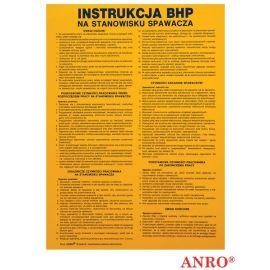 ZNAK BEZPIECZEŃSTWA ANRO INSTRUKCJA BHP NA STANOWISKU SPAWACZA PŁYTA PCV Z-IBM07 P